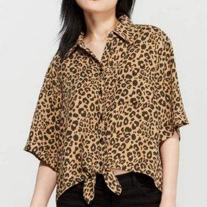 Sanctuary Leopard Print Cropped Tie Front Top